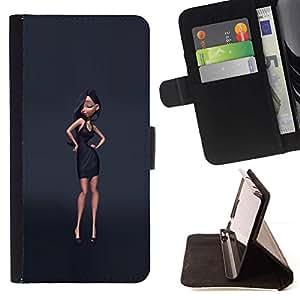 Momo Phone Case / Flip Funda de Cuero Case Cover - Style Design Gris Mode - Apple Iphone 5 / 5S
