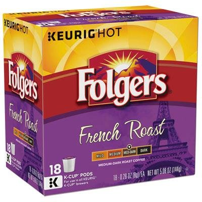 Folgers French Roast Medium-Dark Roast Coffee K-Cup Packs, 0.28 oz, 18 count (Folgers K Cups Breakfast Blend compare prices)
