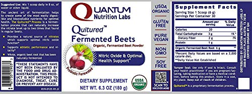 Qultured Fermented Beets, 18.9oz Powder, Organic Fermented Beets for Nitric Oxide & Health Support from Quantum Premier Research Labs by Quantum Nutrition Labs (Image #1)