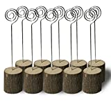 Haperlare 10pcs Wooden Base Memo Photo Holder Rustic Wood Table Number Holders Wooden Place Card Holder Wooden Wedding Card Holder for Home Birthday Party Rustic Wedding Decorations