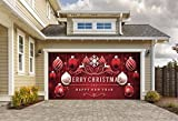 Outdoor Christmas Holiday Garage Door Banner Cover Mural Décoration 8'x16' - Red Ornaments in Snow Outdoor Christmas Holiday Garage Door Banner Décor Sign 8'x16'