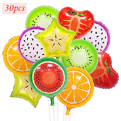 30 Pcs Fruit Mylar Balloons Party Supplies,18 Inch Large Foil Balloons For Birthday Party or Baby Shower Decorations