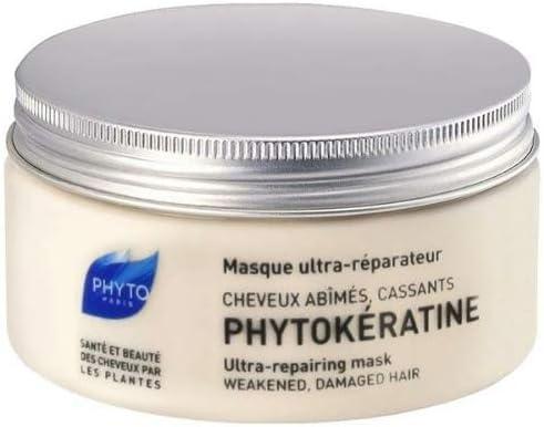 PHYTO Phytokeratine Ultra Repairing - mascarillas para el cabello (Unisex, Cabello dañado, Reparación, Botanical Keratin, Hyaluronic Acid Complex, Rice Bran Ceramides, Pomegranate, Apply a quarter-siz