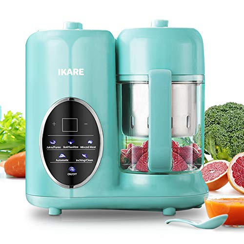 Baby Food Maker- IKARE 8 in 1 Self Clean Baby Food Processor Blender Grinder Steamer with Detachable Water Tank and Steam Basket & Bowl - Touch Control Panel -Cooks Baby Food in 15 Mins