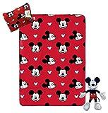 Jay Franco Disney Mickey Mouse Travel Set - 3 Piece Kids Travel Set Includes Blanket, Pillow, Plush