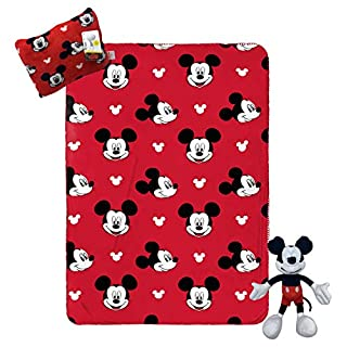 Jay Franco Disney Mickey Mouse Travel Set - 3 Piece Kids Travel Set Includes Blanket, Pillow, Plush (Offical Disney Product)