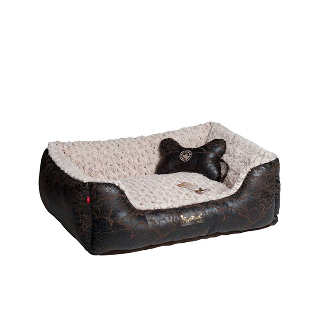 BLACK L BLACK L HQSB Pet bed Soft Luxurious And Comfortable Square Cat Dog Bed With Anti Slip Base (color   BLACK, Size   L)