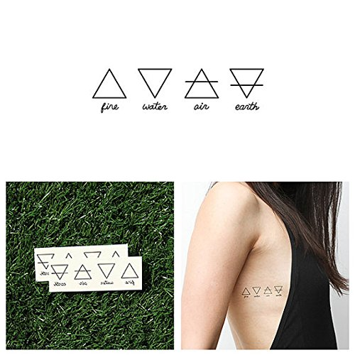 Tattify Element Symbol Temporary Tattoo - Alchemy (Set of 2) - Other Styles Available - Fashionable Temporary Tattoos - Long Lasting and Waterproof