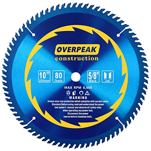 Overpeak 10 inch Circular Saw Blade, 80 Tooth ATB Finishing Saw Blades with 5/8-Inch Arbor, Laser-Cut Thin Kerf and Anti-rust Coating