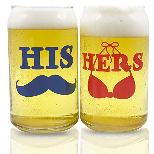 (His and Hers Beer Can Shaped Glasses Gift Set | Funny Engagement or Wedding Present | Perfect Newlyweds, Anniversary, Bride and Groom, Couples )