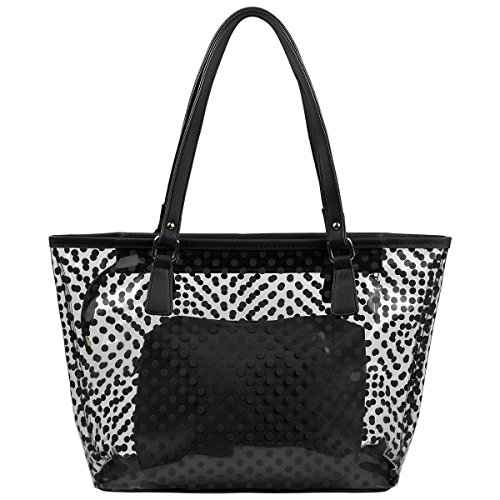 MICOM Cute Neno Candy Color Polka Dot Clear Bags Beach Tote Shoulder Handbag (Polka Dot Purse Handbag)