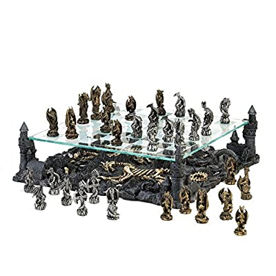 "Chess Board 13.5"" Glass board with Chess Pieces - Decorative Dragon Theme Chess Set"