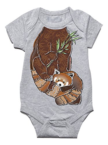 Peek-A-Zoo Infant Baby Become an Animal Short Sleeve Onesie Bodysuit - Red Panda Grey (0/6 Months)