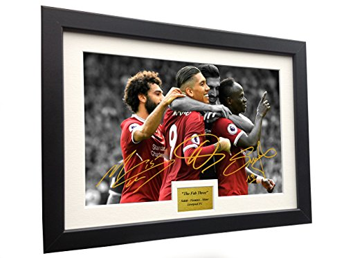 FAB THREE - Roberto Firmino Mohamed Mo Salah Sadio Mane 12x8 A4 Signed Liverpool FC - Autographed Photo Photograph Picture Frame Gift Soccer