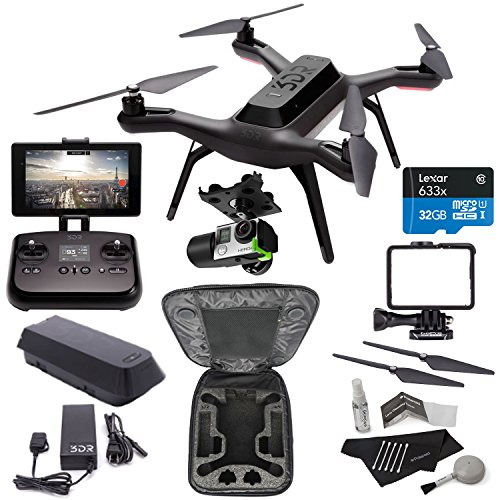 3DR Solo Drone Quadcopter + 3D Robotics GB11A 3DR Solo Gimbal + PP11A 3DR Solo Propeller Set + 3DR Protective Backpack Case + Lexar microSDHC 633x 32GB UHS-I/U1 + Polaroid Camera Cleaning Kit Bundle by Ritz Camera