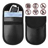RFID Signal Blocking Bag Ewadoo Faraday Bag for Key Fob Keyless Entry Car Key Signal Blocker Premium Pu Leather Anti Theft Faraday Pouch Protector (Black)