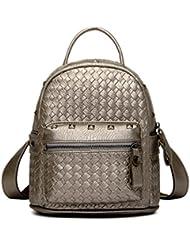 Tiny Chou Girls Mini Woven Spikes PU Leather Backpacks Cute Travel Daypack