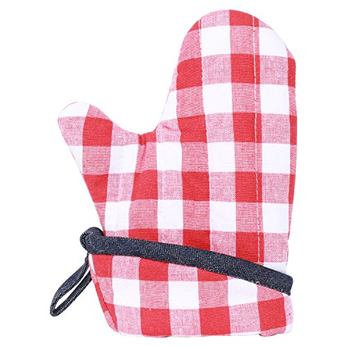 Neoviva Cotton Quilting Heat Resistant Oven Mitt for Child, Set of 2, Checked Red by Neoviva (Image #3)