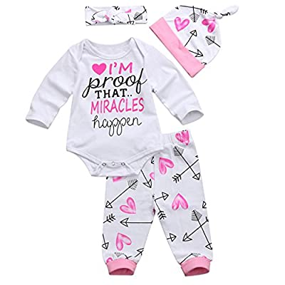 gllive Baby Girls Clothes Long Sleeve Miracles Romper Outfit Pants Set +Hat+Headband