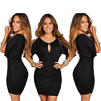 YUTRENDS Womens Sexy Short Cut-outs Sleeve Round Neck Bodycon Summer Dress