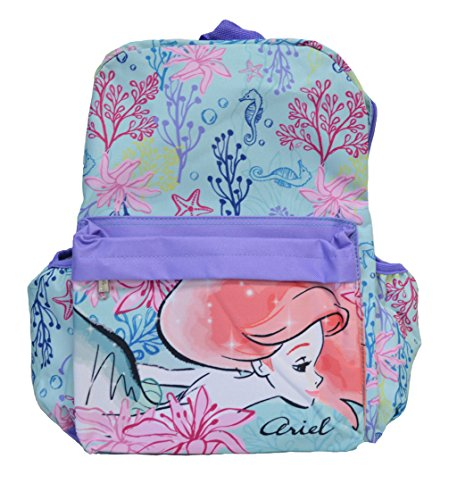 Stitch Disney Character - Disney Ariel Front Big Face Printed All Over Children's Backpack 16 Inch (Little Mermaid Lavender)
