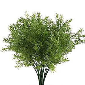 NAHUAA Fake Outdoor Plants, 4PCS Artificial Greenery Bush Faux Plastic Shrubs Table Centerpieces Arrangements Inddor Outdoor Home Kitchen Office Windowsill Spring Decorations 67