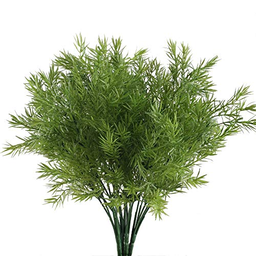 NAHUAA Fake Outdoor Plants, 4PCS Artificial Greenery Bush Faux Plastic Shrubs Table Centerpieces Arrangements Inddor Outdoor Home Kitchen Office Windowsill Spring Decorations (Greenery Trees)
