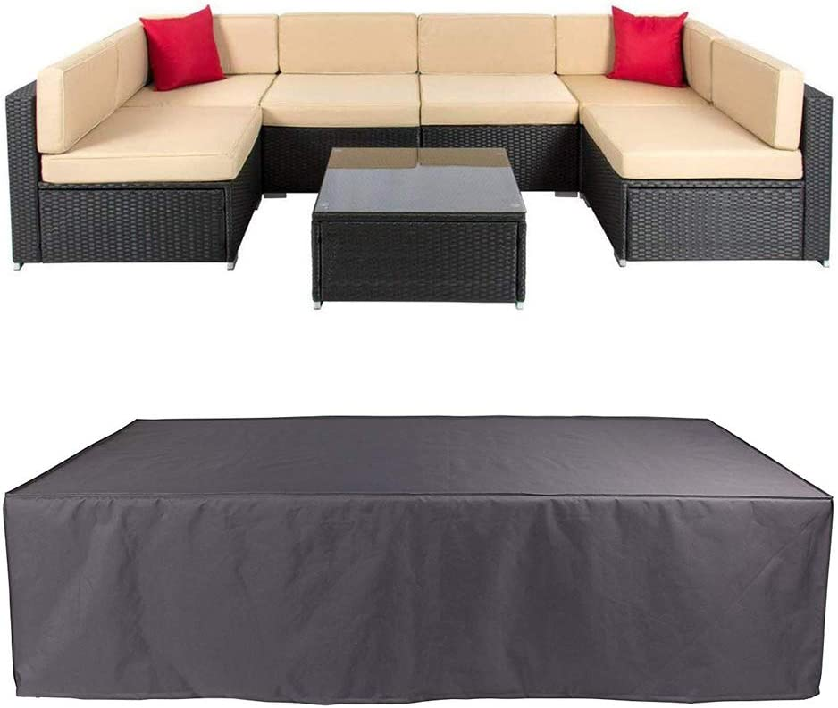 Veronica Patio Furniture Outdoor Sofa Cover Waterproof Sectional Protective Cover Garden Winter Dust Proof Table Couch Covers with Windproof Straps 124 x 62.9 x 29.1 inch