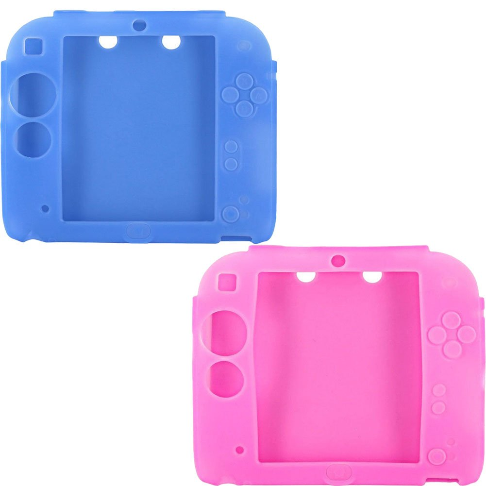 2Packs Protective Soft Silicone Rubber Gel Skin Case Cover for Nintendo 2DS (BU+PI)