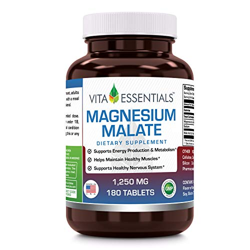Tablets 180 Malate Magnesium - Vita Essentials Magnesium Malate 1250 Mg Tablets, 180 Count