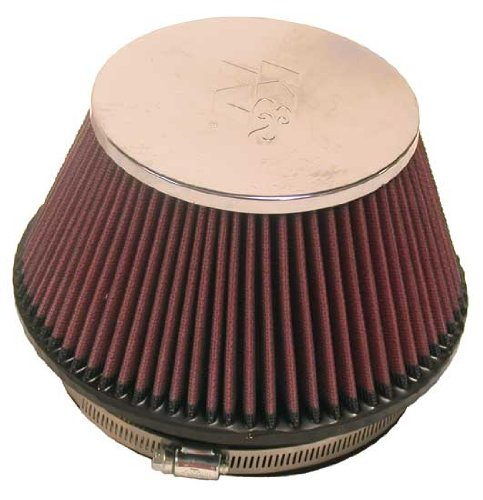 K&N RF-1009 Universal Clamp-On Air Filter: Round Tapered; 6 in (152 mm) Flange ID; 4 in (102 mm) Height; 7.5 in (191 mm) Base; 5.125 in (130 mm) Top