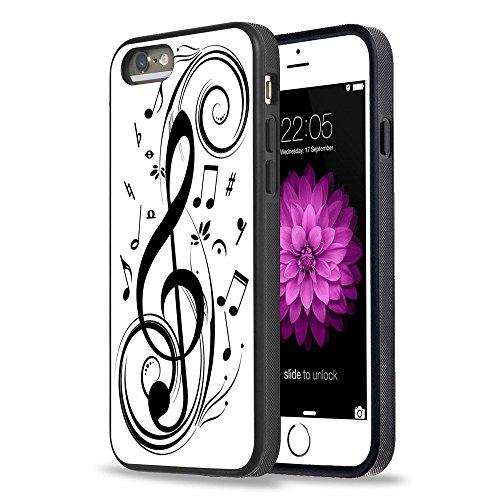 iPhone 5S Case Apple 5/5s Black Cover TPU Rubber Gel - Music Note