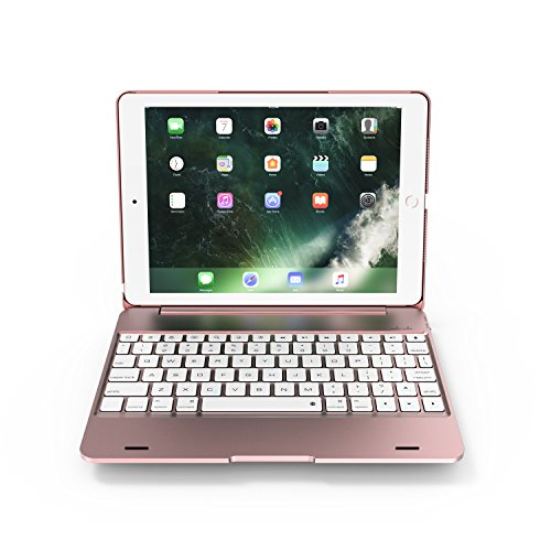 Azolt iPad Keyboard Case 9.7 2018 New / 2017, Bluetooth Keyboard Smart Folio Cover Wireless Connect for iPad Pro 9.7, iPad Air 2, iPad Air (Rose Gold) by Azolt