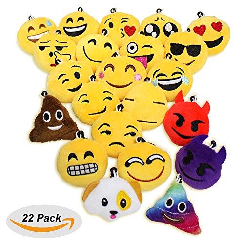 [22 Pack Emoji Plush Pillow,Emoji Icons Keychain-Tysonir 2-Inch Pop Plush Pillow Keychain for book bag,Set of] (Dollar Jumbo Glasses)