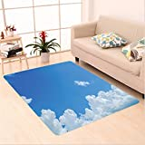 Nalahome Custom carpet ollection Cloud Frame Skylight To Clear Sky Sunny Day Decorative Nature Picture Scene White Blue area rugs for Living Dining Room Bedroom Hallway Office Carpet (2' X 3')