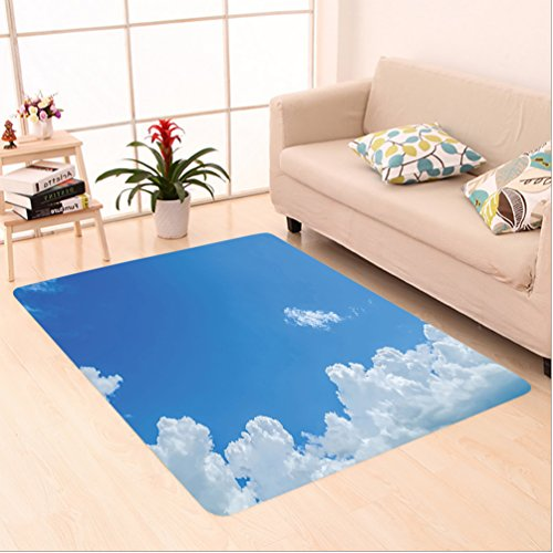 Nalahome Custom carpet ollection Cloud Frame Skylight To Clear Sky Sunny Day Decorative Nature Picture Scene White Blue area rugs for Living Dining Room Bedroom Hallway Office Carpet (5' X 7') (X Frame Fireman 5 7 Picture)