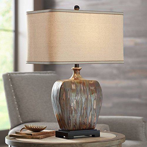 Julius Modern Table Lamp Ceramic Copper Drip Rectangular Fabric Shade for Living Room Family Bedroom Bedside - Possini Euro Design ()