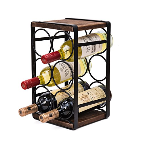 (Soduku Rustic Wood Countertop Wine Rack 6 Bottles No Need Assembly )