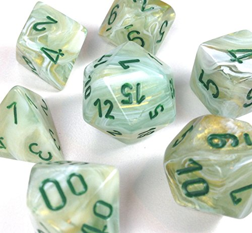 Custom & Unique {Standard Medium} 7 Ct Pack Set of [D4, D6, D8, D10, D12, D20] Assorted Polyhedral Shapes Opaque Numbered Playing & Game Dice w/ Marble Stone Design [White & Green Colored] w/ Bag (4 Sided Marble)