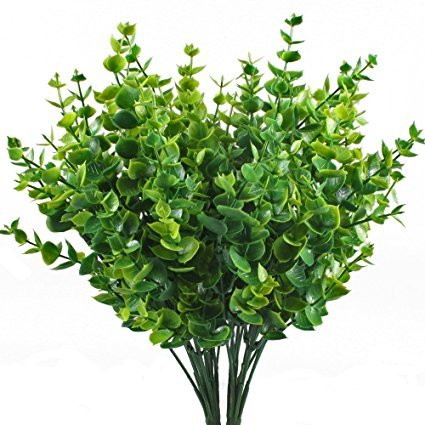 LoveU Shrub Artificial Greenery Plants Fake Plastic Eucalyptus Leaves Bushes for Wedding, Garden, Indoor Outdoor, Office Verandah Decor, 4 Pieces