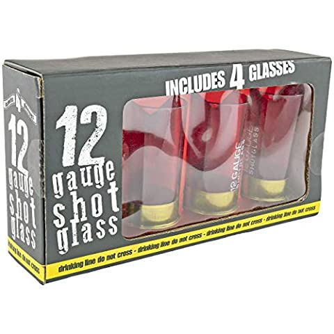 Fairly Odd Novelties 12 Gauge Shotgun Shell Shot Glasses Funny Gun Hunting Father's Day Dad Novelty Gift Item, 2 oz, Red