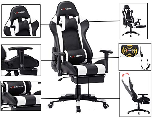 Computer Gaming Chair with Footrest- Adjustable Reclining High Back Swivel Home Office Chair with Headrest and Lumbar Massage Support Racing Style Video Chair Black White