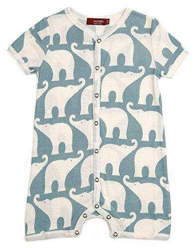 Blue Shortall - MilkBarn Organic Cotton Short Sleeve Shortall Blue Elephant 3-6 Months