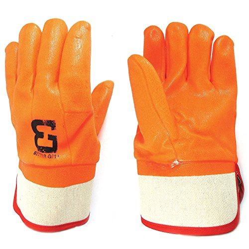 Better Grip BG105ORG Heavy Duty Premium Sandy finished PVC Coated-Supported Glove with Safety Cuff, Chemical Resistant, Large, Fluorescent Orange, Sanitation Gloves (12 Pair) by Better Grip (Image #6)