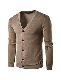 kingf Men's Button V Neck Knit Sweater Cardigan Jacket Knitwear Warm-up Sweatshirt