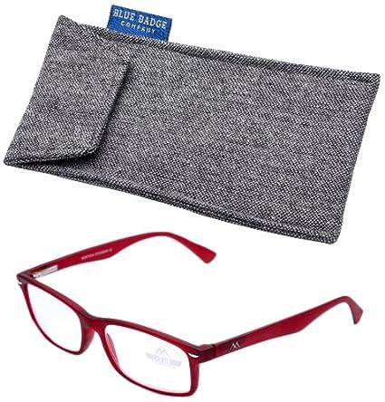 Blue Badge Strength Plus 3rosso telaio Montana Ready to Wear occhiali da lettura con custodia imbottita in tweed Wzukc