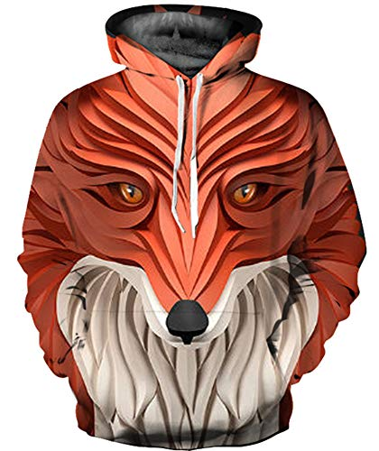 GLUDEAR Unisex All Over Print Hoodie Casual Pullover Hooded Sweashirt Jacket with Pockets,Abstract Fox,S/M