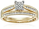 10K Yellow Gold Square Center Diamond Bridal Ring Set (1/7 cttw), Size 9