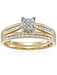 10k Yellow Gold Diamond Square Center Bridal Ring Set (1/7 cttw, I-J Color, I2-I3 Clarity)