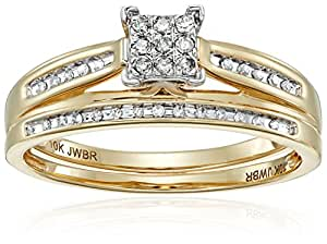 10K Yellow Gold Square Center Diamond Bridal Ring Set (1/7 cttw), Size 7